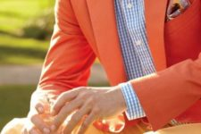 With checked shirt and orange blazer