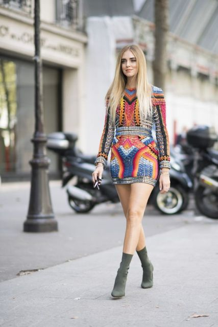 With colorful geometric printed mini dress