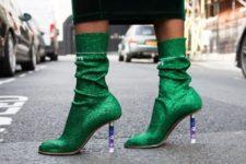 With dark green velvet midi skirt