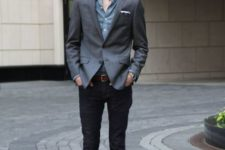 With denim shirt, gray jacket and neutral color shoes