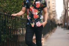 With floral shirt and red sneakers