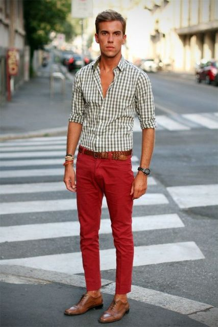 casual spring look with gray and white checked shirt and leather shoes