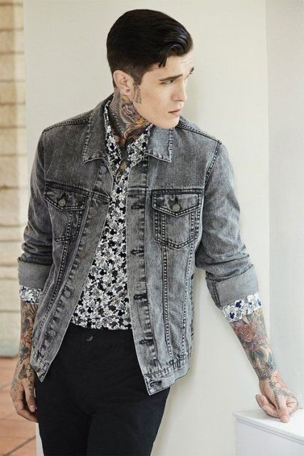 With gray denim jacket and black pants