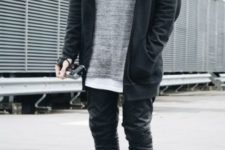 With gray long shirt, dark gray loose jacket and sporty shoes