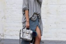 With gray loose blouse, wrap skirt and pastel color shoes