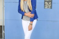 With gray shirt, blue blazer and white pants