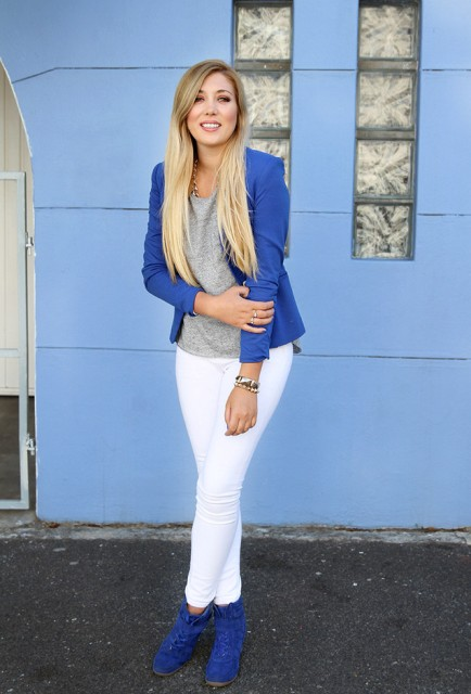 Picture Of With gray shirt, blue blazer and white pants