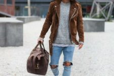 distressed jeans look
