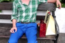 With green and white checked shirt and oxford shoes