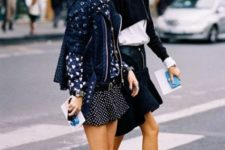 With jacket and polka dot mini skirt