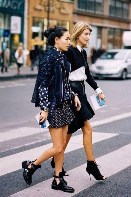 With jacket and polka dot mini skirt