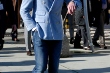 With jeans, light blue blazer and tie