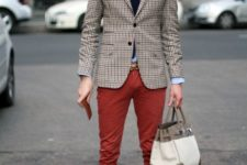 With light blue shirt, dark color tie, checked blazer and brown shoes