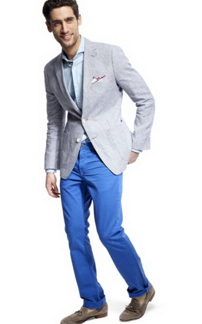 With light blue shirt, gray jacket and gray suede shoes