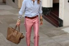 With light blue shirt, printed shoes and neutral color bag