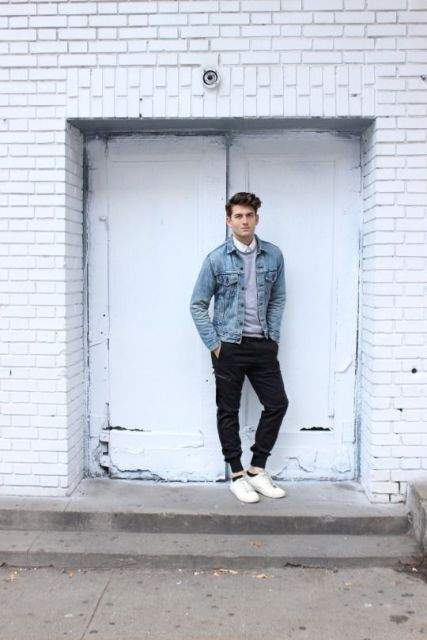 With light gray sweater, denim jacket and sneakers