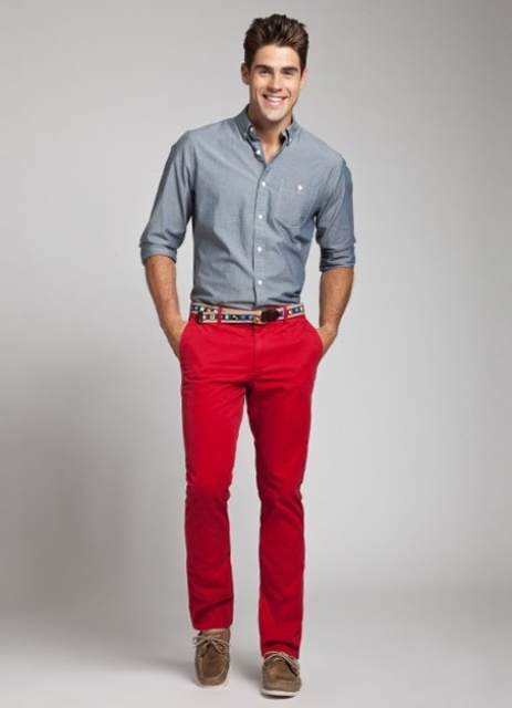 With metallic gray shirt, printed belt and brown shoes