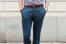 With navy blue pants, marsala belt and light blue loafers