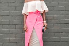 With off the shoulder blouse and neutral color shoes