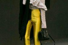 With off the shoulder blouse, black embellished shoes and black bag
