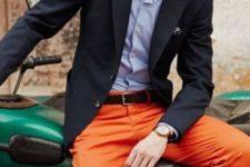 With pastel color shirt, blazer, black belt and hat