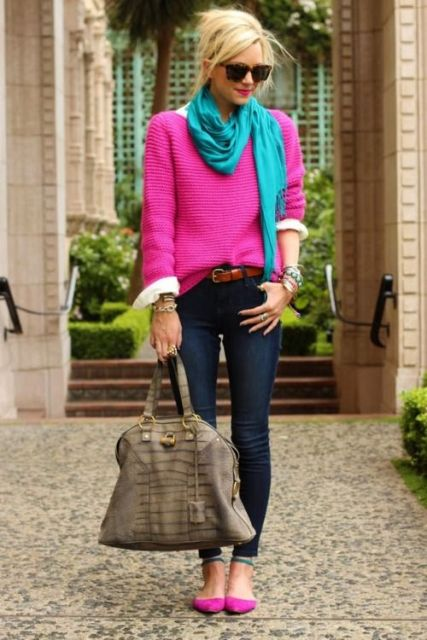 With pink sweater, jeans and bright color scarf
