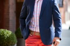 With printed shirt, navy blue jacket and light brown belt
