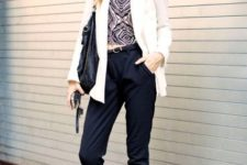 With printed top, crop trousers, white blazer and black bag