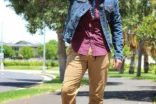 With purple shirt, denim jacket and blue shoes