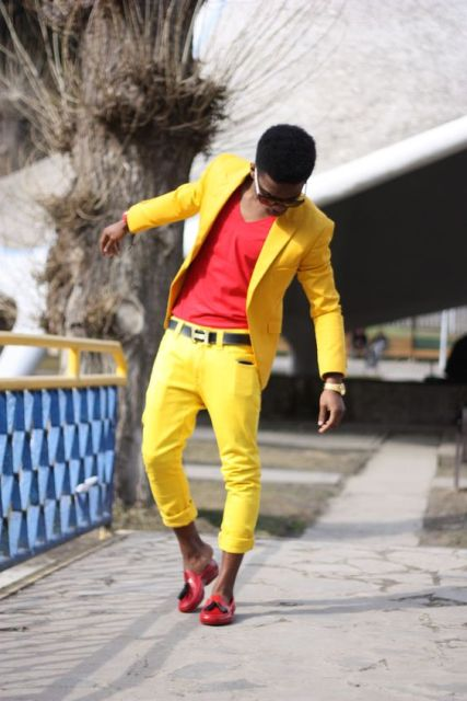 Picture Of With Red Shirt Yellow Blazer And Red Shoes
