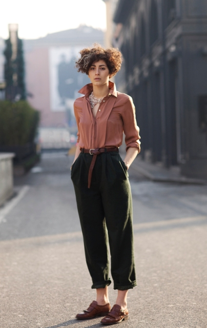 With shirt, crop high-waisted trousers and brown belt