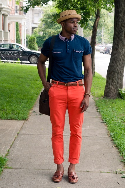 21 Men Outfits With Orange Pants - Styleoholic