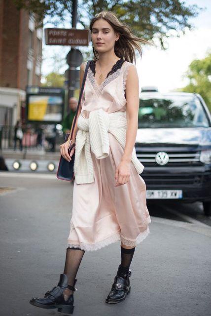 With silk midi dress and bag