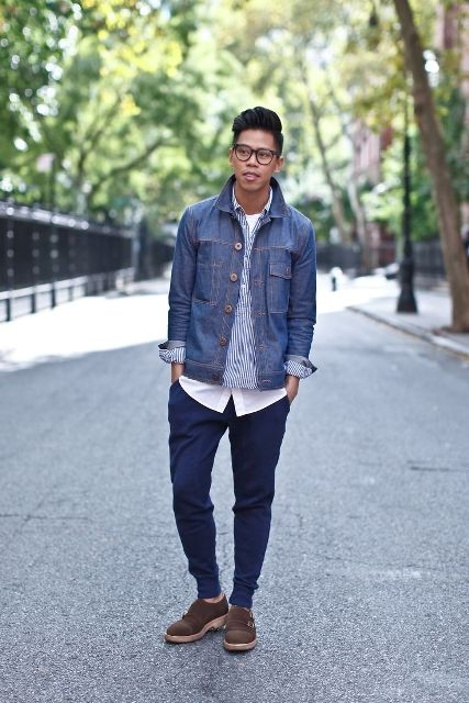 With striped shirt, denim jacket and brown shoes