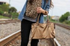 With striped shirt, denim jacket, leopard scraf, black pants and white sneakers