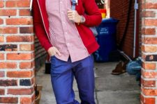 With striped shirt, jeans and red jacket