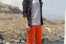 With striped t-shirt, printed button down shirt and black shoes