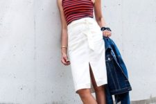With striped top, metallic shoes and denim jacket