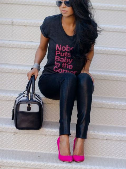 With t-shirt, leather pants and bag