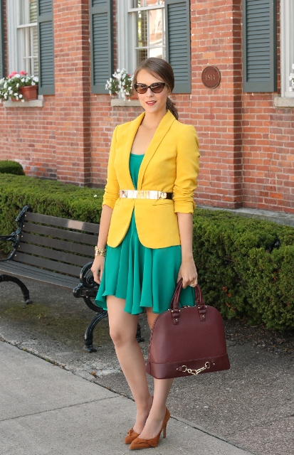 spring look with orange shoes