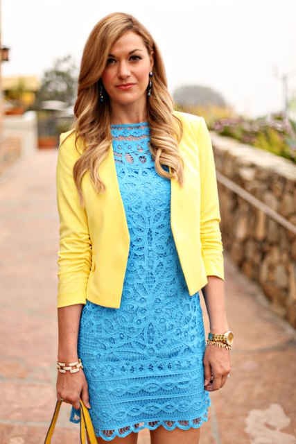 With turquoise lace dress and yellow bag