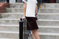 With velvet skirt, shirt and gray cap