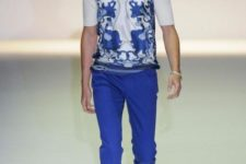 With white and blue printed shirt and white loafers