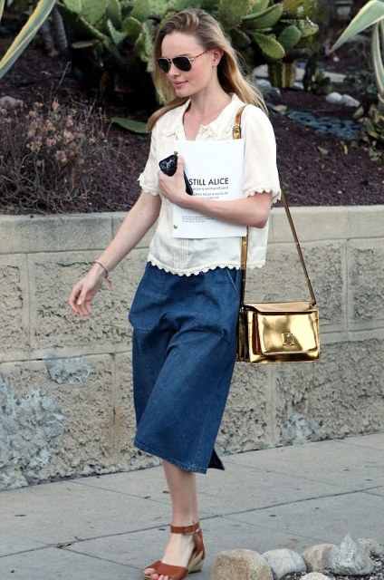 With white blouse, denim midi skirt and leather sandals