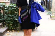 With white blouse, skirt, wide belt, scarf and gloves