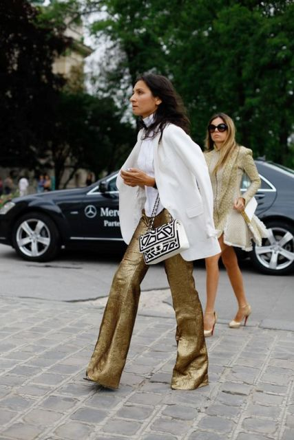 With white blouse, white long blazer and printed bag