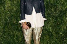 With white oversized shirt, black leather jacket and emerald shoes