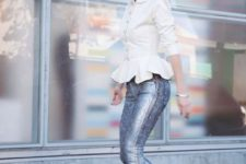 With white shirt and metallic pumps