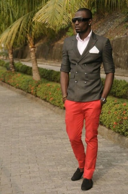With white shirt and olive green blazer