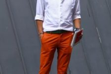 With white shirt, black belt and colorful shoes